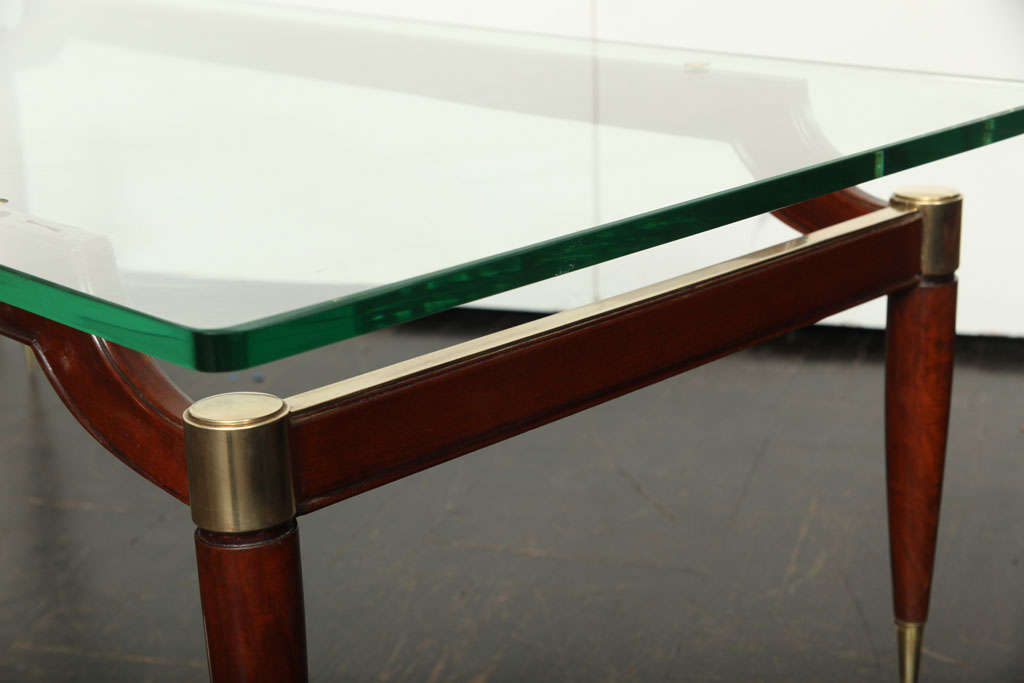 20th century wood and glass cocktail table at 1stdibs for Wood and glass cocktail tables