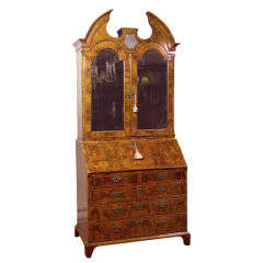 English George I Figured Walnut Bureau Bookcase with Mirror Doors