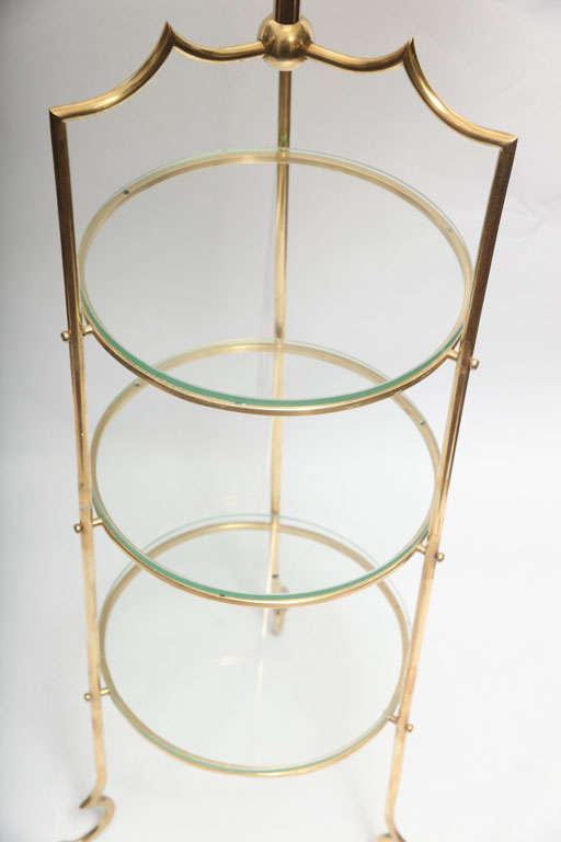 Floor Lamps brass and glass shelves France 1940's For Sale 3