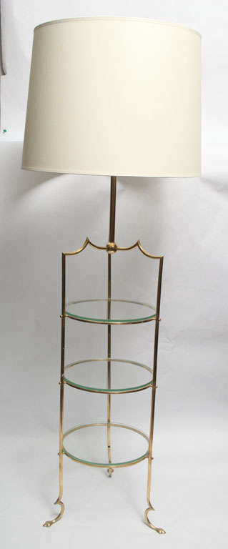 A pair of French Art Moderne Floor Lamps brass and glass shelves New sockets and rewired Shades not included