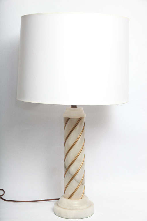 A pair of 1940s Italian classical modern alabaster table lamps. Shades not included