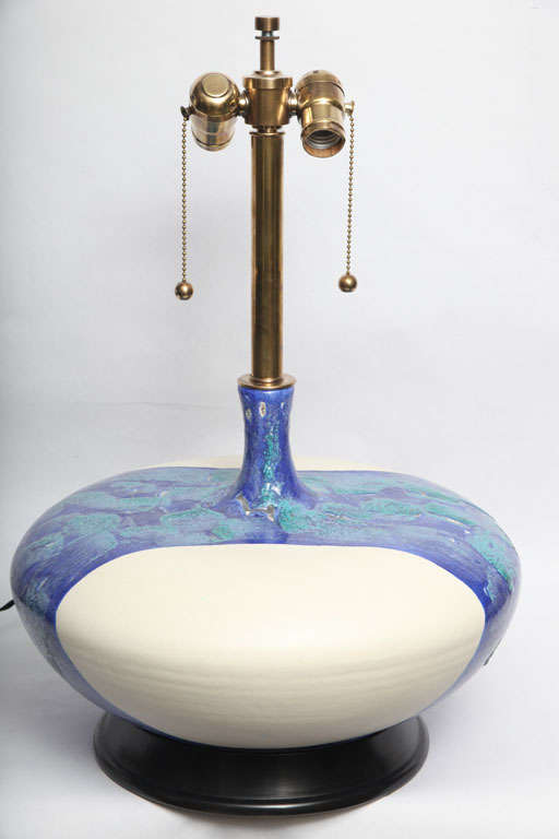 Mid-20th Century Pair of 1960s Danish Sculptural Ceramic Table Lamps For Sale