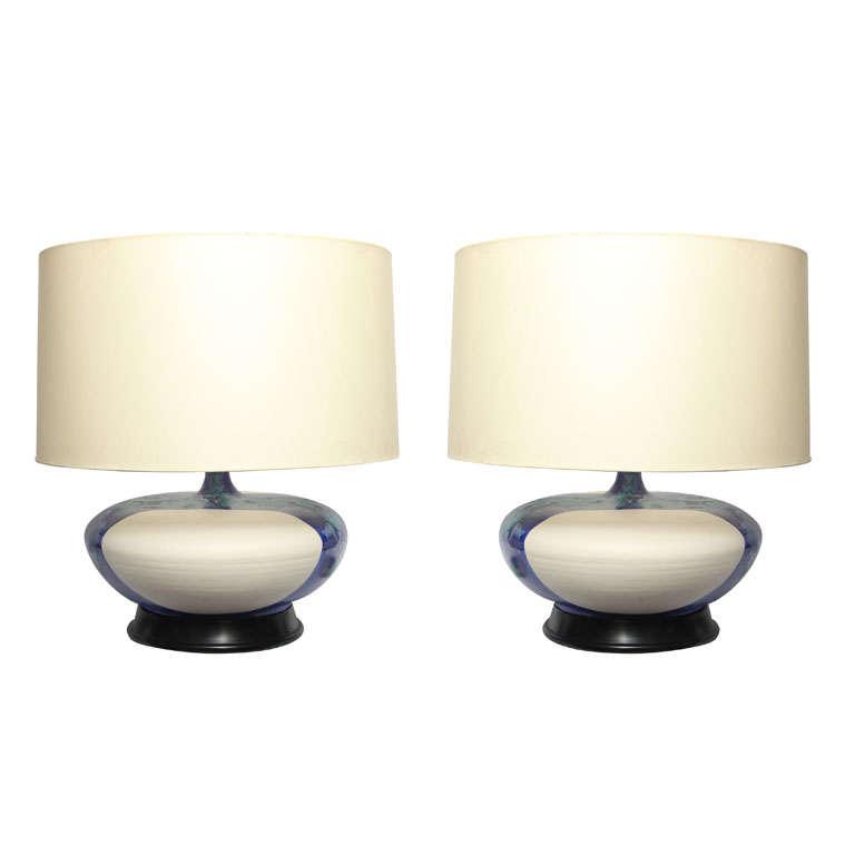 Pair of 1960s Danish Sculptural Ceramic Table Lamps For Sale