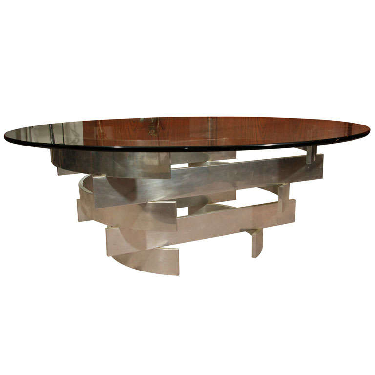 Mid-Century Coffee Table With Round Glass Top On Geometric