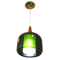 Mid Century Handblown Green Glass Pendant Light by Orrefors