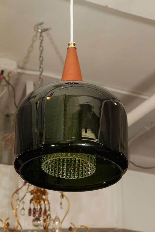 Mid-Century Modern Mid Century Handblown Green Glass Pendant Light by Orrefors For Sale