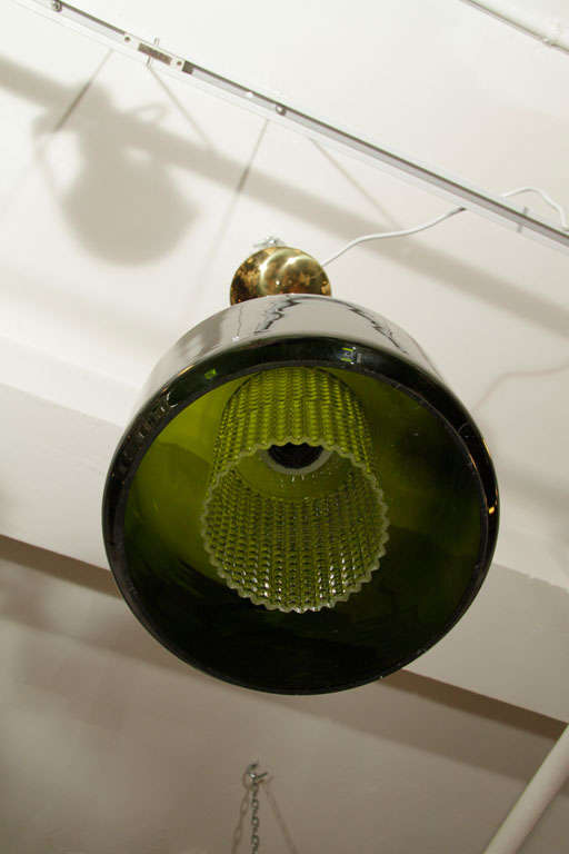 Swedish Mid Century Handblown Green Glass Pendant Light by Orrefors For Sale