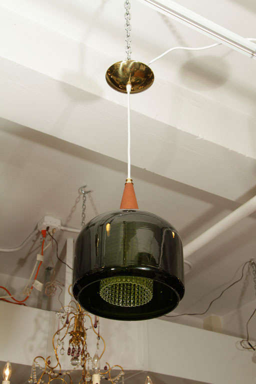 Mid-20th Century Mid Century Handblown Green Glass Pendant Light by Orrefors For Sale