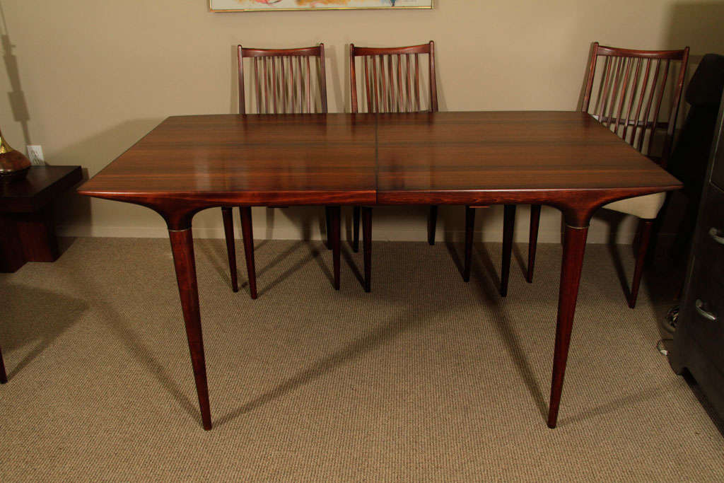Mid century danish modern dining table and six chairs at for Danish modern dining room table