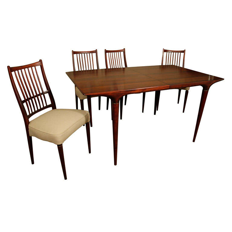 mid century danish modern dining table and six chairs at 1stdibs
