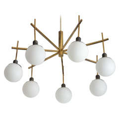 Stilnovo Brass Chandelier With White Glass Globes