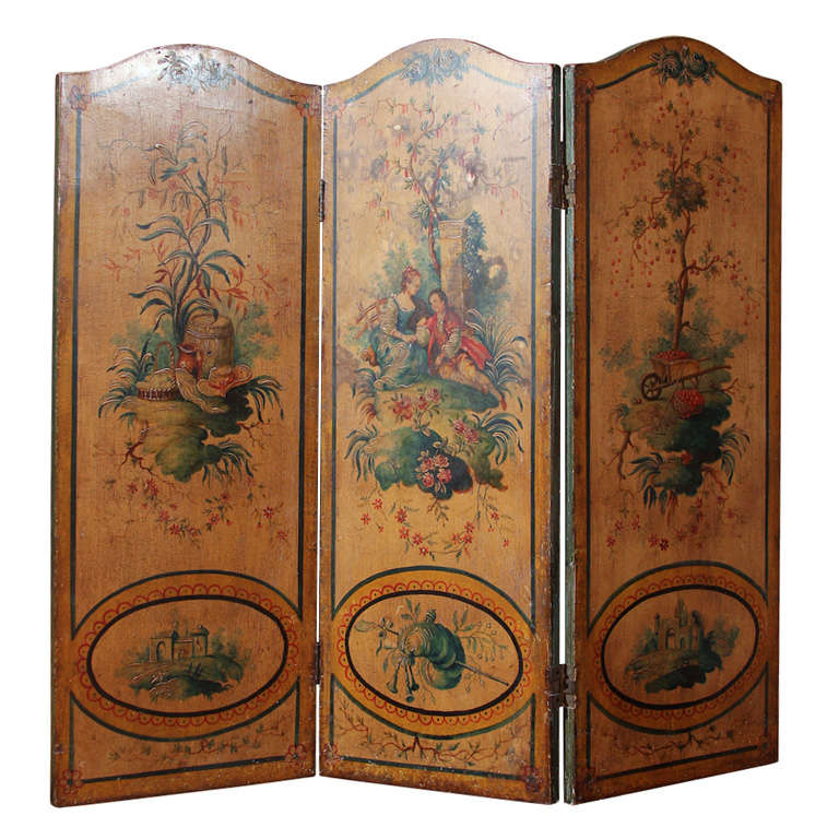 French Three Panel Painted Screen At 1stdibs