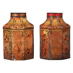 Pair of English Tea Canisters Lamp Bases