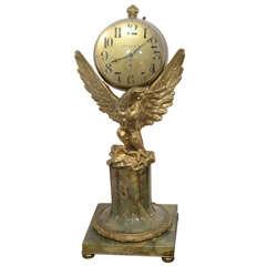 A Monumental Tiffany 8 Day Ball Clock On A Gilt Bronze Eagle 1920