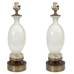 Pair of Mid Century White with Silver Flecks Murano Lamps