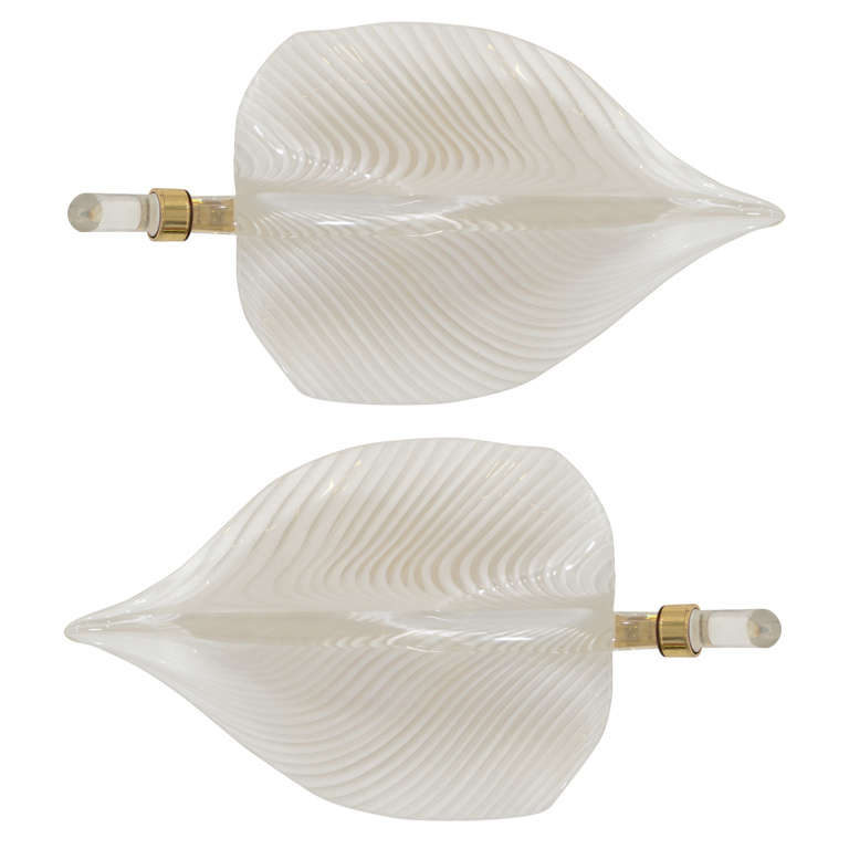 Wall Sconces Hand Blown Glass : A Midcentury Pair of Hand Blown Murano Glass Leaf Sconces at 1stdibs