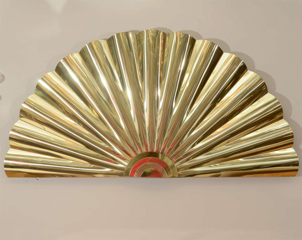 "Mid Century Brass ""Fan"" Wall Sculpture by Curtis Jere 2"