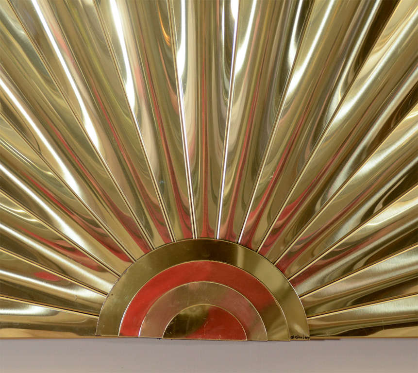 "Mid Century Brass ""Fan"" Wall Sculpture by Curtis Jere 3"