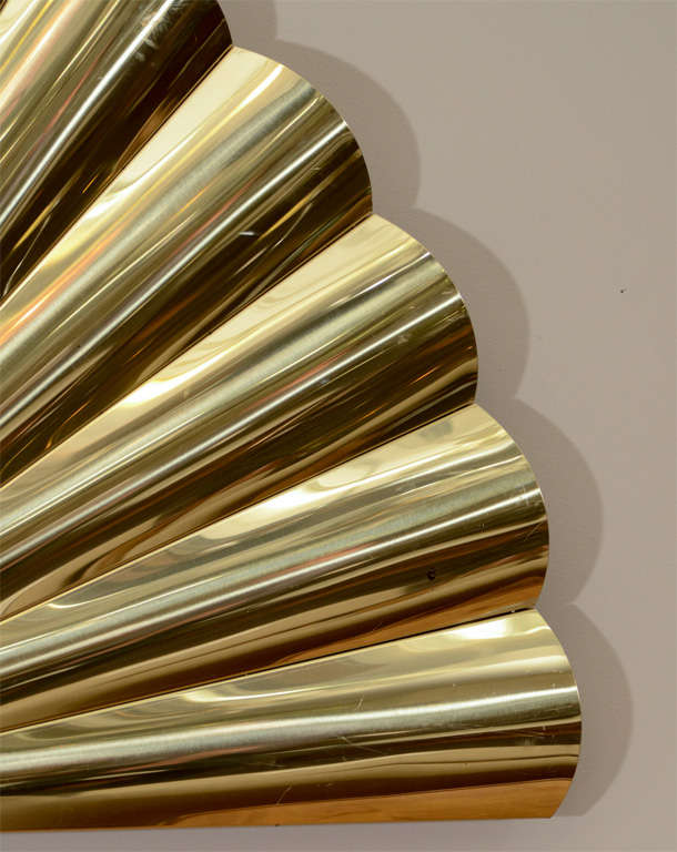 "Mid Century Brass ""Fan"" Wall Sculpture by Curtis Jere 5"