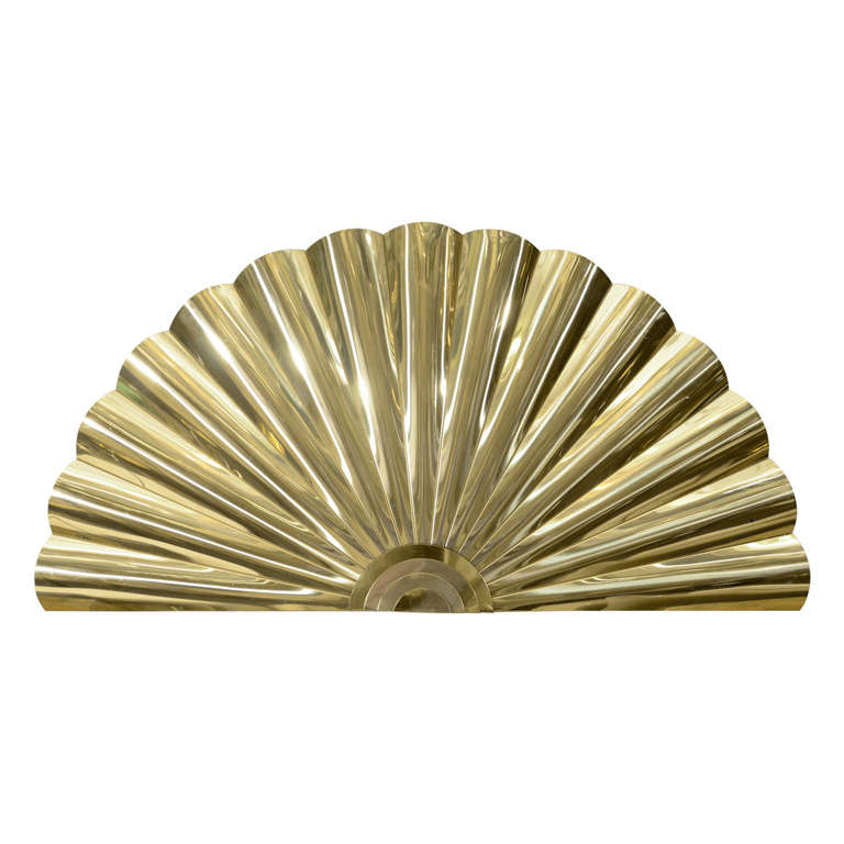 "Mid Century Brass ""Fan"" Wall Sculpture by Curtis Jere 1"