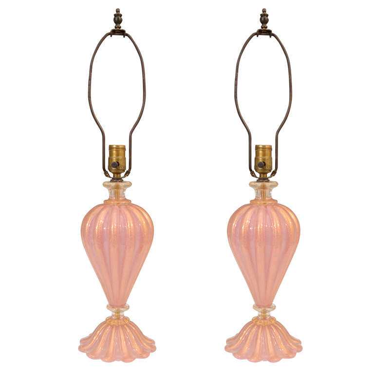 Pair of Mid Century Murano Glass Lamps in Pink and Gold
