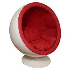 """Mid Century Red and White """"Ball"""" Chair by Eero Aarnio"""