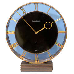 Art Deco Jaeger-LeCoultre Bronze and Glass Clock