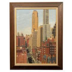 Rene Schmitt New York City Street Scene Oil on Canvas