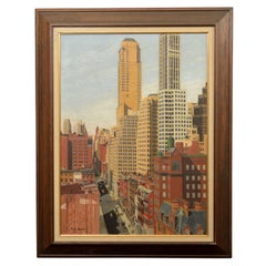 Rene Schmitt New York City Street Scene Oil on Canvas