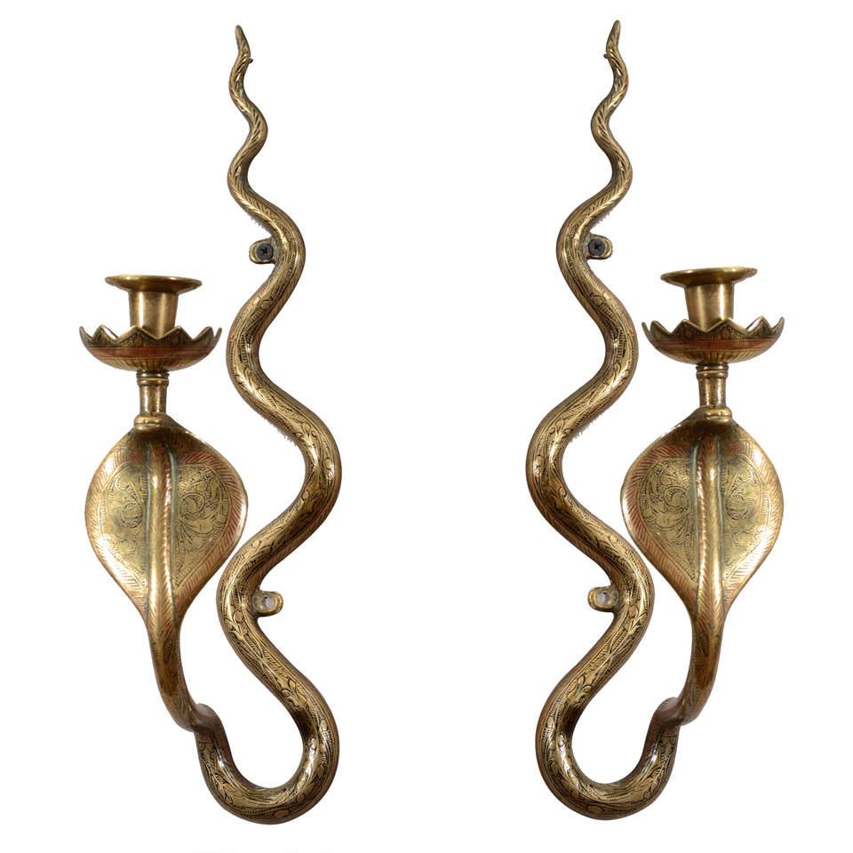 pair of egyptian revival brass serpent sconces at 1stdibs. Black Bedroom Furniture Sets. Home Design Ideas