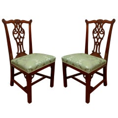 Pair of 18th Century Carved Mahogany Irish Georgian Side Chairs