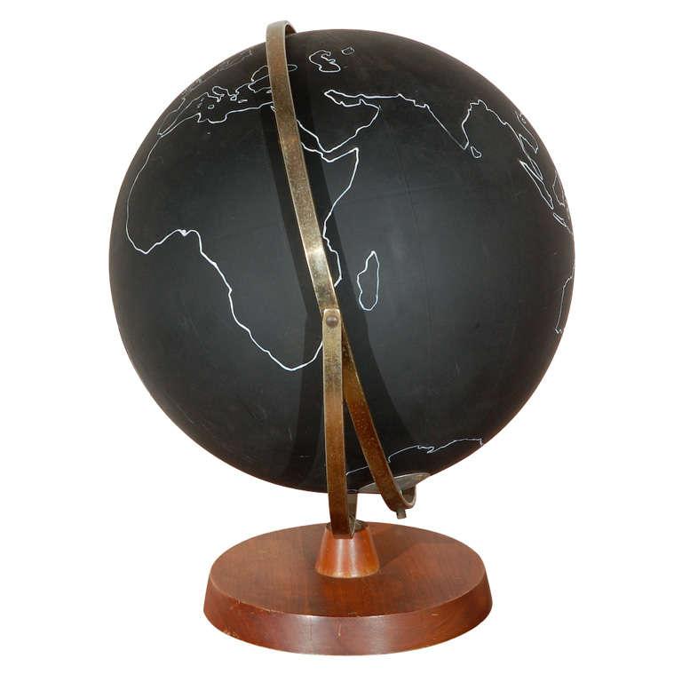 Vintage Black School Globe