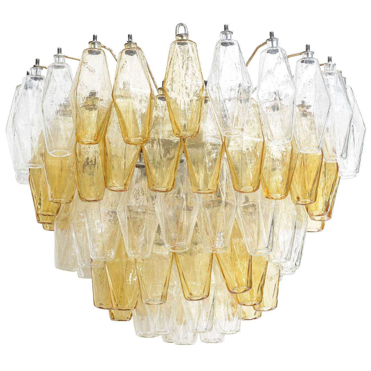 Carlo Scarpa Five-Layer Polyhedral Chandelier. For Sale