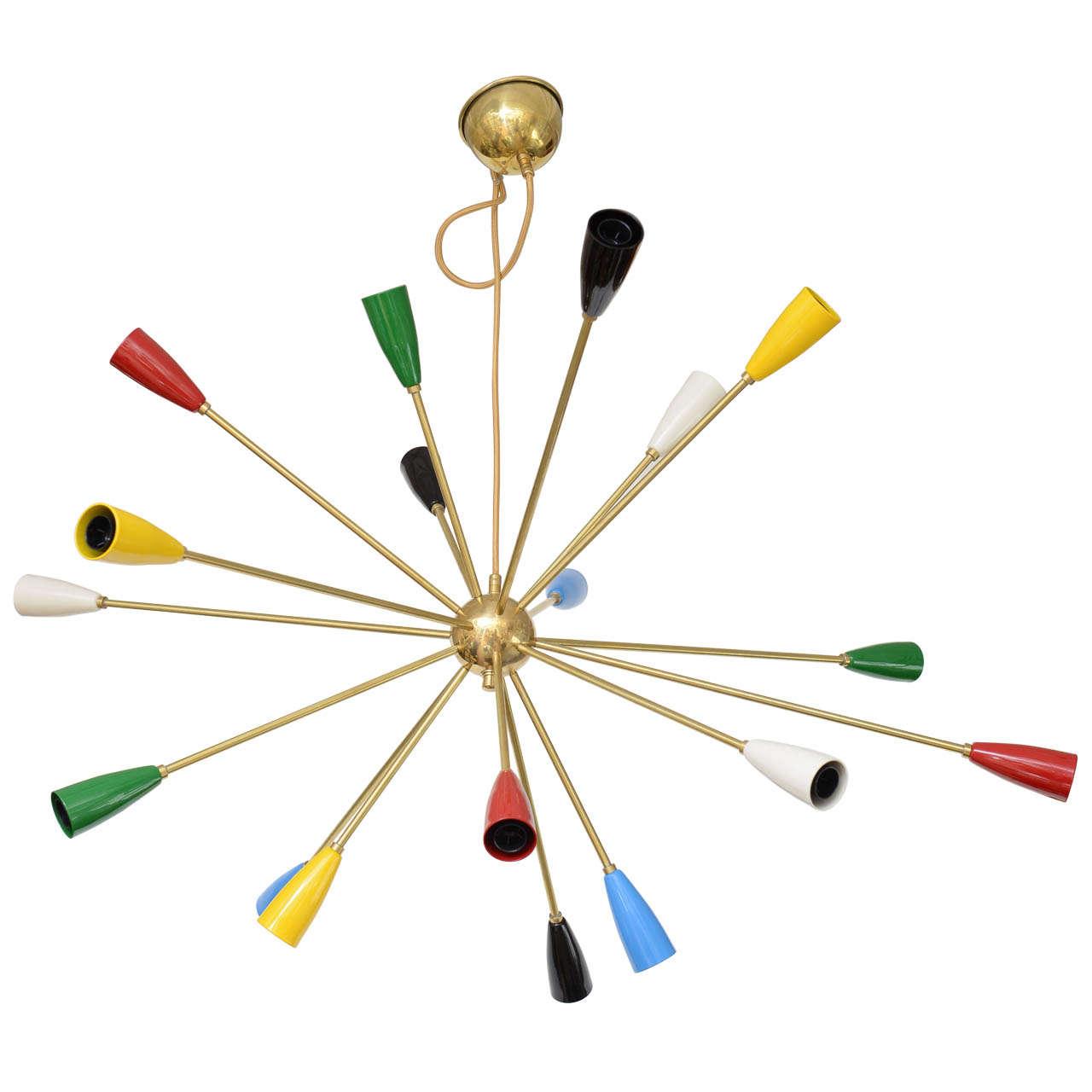 Eighteen-Shade Brass Chandelier