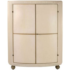 Double-door Cabinet in Parchment glass and stone, Italy, C. 1940