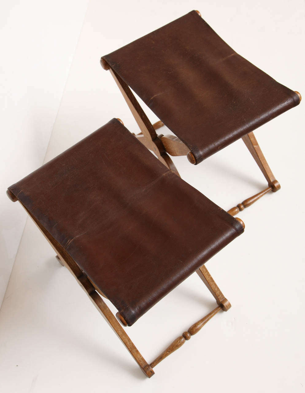 Pair Of Limed Oak And Leather Folding Stools At 1stdibs