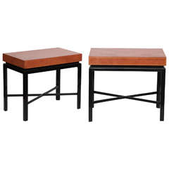 Pair of Leather Top Side Tables by Tommi Parzinger