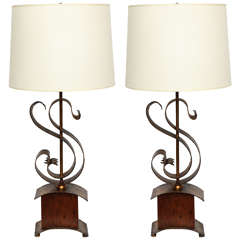 Pair of 1940s Italian Art Moderne Table Lamps