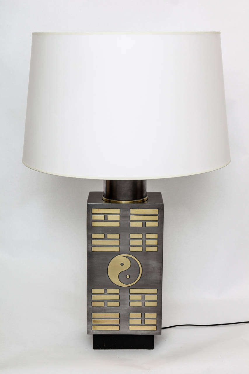 Table Lamp Mid Century Modern pewter and brass Yin Yang Korea 1950's New sockets and rewired Shade not included