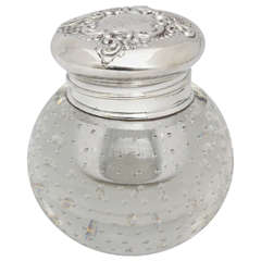 "Sterling Silver-Mounted ""Pairpoint Controlled Bubbles"" Crystal Inkwell"
