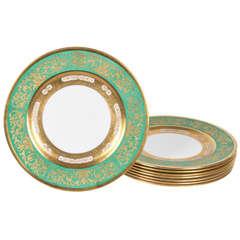 12 Gilt Encrusted Green Crown Staffordshire Presentation Plates