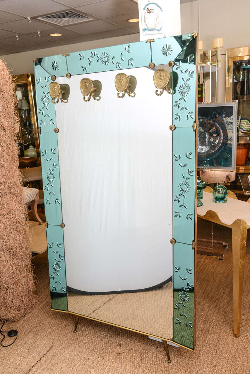 Foyer Mirror Jewelry : Oversized crystal art foyer mirror with brass hangers for