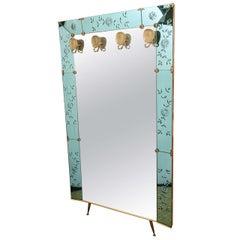 Oversized Cristal Arte Foyer Mirror with Brass Hangers