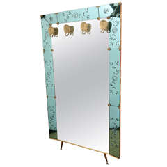Oversized Crystal Art Foyer Mirror with Brass Hangers