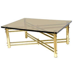 Exceptional Brass and Lucite Cocktail Table