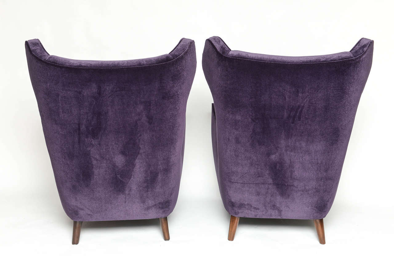 Pair Of Wingback Armchairs In The Manner Of Gio Ponti At