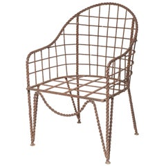 Exceptional and Rare Rene Prou Wrought Iron Chair
