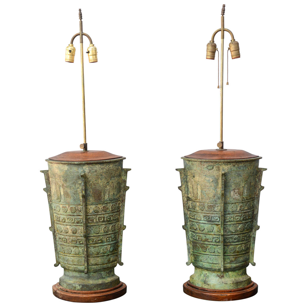 Oversized Verdigris Bronze Asian Table Lamps at 1stdibs