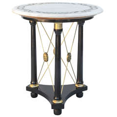 Mid-century Regency Table with Scroll-etched Marble Top