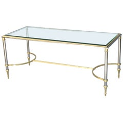 Brass and Steel Jansen Style Coffee Table